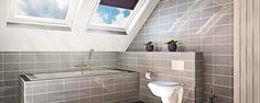 3D impressie badkamer met grijze rechthoekige tegels
