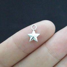 50 unids 8 * 11 mm de cinco puntos estrella del encanto de plata antiguo del tono joyería de diy que hace(China (Mainland))