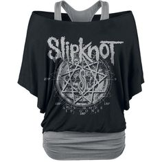 Slipknot Star Symbol Girls shirt black-grey ($47) ❤ liked on Polyvore featuring tops and shirts