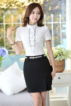 healthy breakfast ideas for picky eaters women video Corporate Attire, Elegant Outfit, Office Fashion, Blouse Styles, Classy Outfits, Fashion Outfits, Womens Fashion, Korean Fashion, Dress Skirt