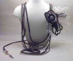 Long collier sautoir Belle Epoque au crochet Noir et par ByMima, €135.00