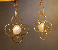 Cosmopolitan 62 Hammered flowers with ivory by CalicoJunoJewelry, $64.00