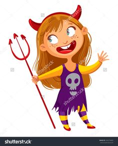 Girl Dressed Up As A Devil. Happy Halloween. Funny Cartoon Character. Vector Illustration. Isolated On White Background - 326276495 :…