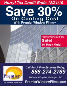Save 30% on Cooling Cost with Premier Window Films #windowfilminstallation Call Now for Free Estimate 866 274 2769