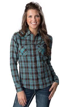Panhandle Slim Women's Brown, Turquoise & Lurex Plaid Long Sleeve Western Shirt