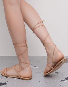 Pull&Bear - femme - chaussures femme - sandales à nouer - chair - 11925011-V2015