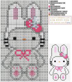 HELLO KITTY EN RETAZOS Y PUNTADAS: Patrones punto de cruz-Hello Kitty