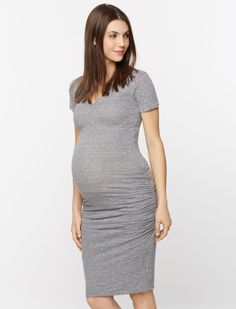 b189fb8271201 A Pea in the Pod Short Sleeve Side Ruched Maternity Dress Stylish Maternity,  Maternity Dresses