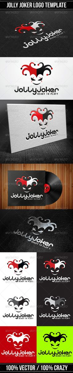 Jolly Joker Logo #GraphicRiver Jolly Joker Logo Logo Template designed to be as flexible as possible and could be used in any different ways .The logo is created from 100% vector shapes, making it simple to change colours, easy to resize with no loss of quality and all type/text is fully editable and ready to be replaced with your own name or organisation. The files were created in Illustrator and saved in compatibility mode up to CS. The artwork is 100% vector and fully editable in...