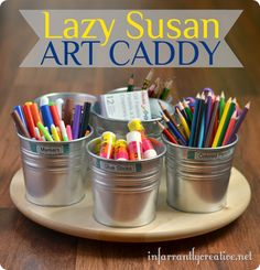 Pottery Barn Kids Inspired Art Caddy ~ Make a spinning art caddy using a lazy Susan from IKEA and metal pails. I love how it keeps items I use a lot easily accessible!