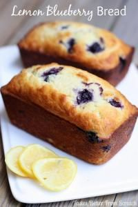 Greek Yogurt Lemon Blueberry Bread on MyRecipeMagic.com Delicious homemade Lemon Blueberry Bread with a scoop of Greek yogurt!
