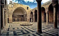 Courtyard of the Madrasa al-Firdaus in Aleppo, 1235-1241. The Madrasa al-Firdaus (School of Paradise) was founded by Daifa Khatun, the widow of the Ayyubid Sultan al-Malik al-Zahir Ghazi. It is probably the most beautiful Ayyubid building to have survived in Aleppo.