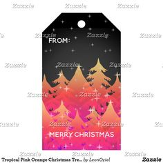 Shop Tropical Pink Orange Christmas Trees Night Sky Gift Tags created by LeonOziel. Orange Christmas Tree, Christmas Holidays, Christmas Gifts, Christmas Trees, Pink Sky, Wedding Color Schemes, Vintage Gifts, Night Skies, Invitation Cards