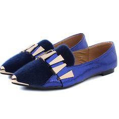 Shining Metal Embellished Pointed Toe Blue Flats