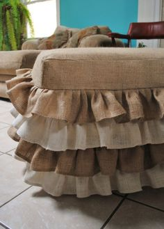 Burlap Ottoman Cover... I am thinking I could make a cover without all the ruffles! Hmmm...