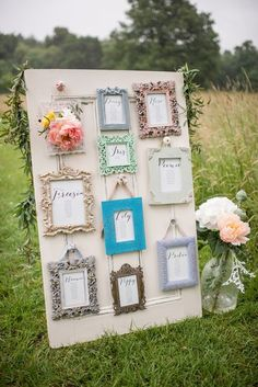 Whimsical Soft Floral Meadow Wedding Ideas // http://www.deerpearlflowers.com/vintage-frames-wedding-decor-ideas/2/