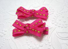 Pink and Green Printed Ribbon Bow Hair Clips by LemonandBees, $5.00