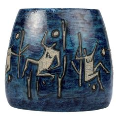 Large Lava and Blue Glaze Italian Mid-Century Modern Gambone Style Pottery Vase | From a unique collection of antique and modern vases and vessels at https://www.1stdibs.com/furniture/decorative-objects/vases-vessels/