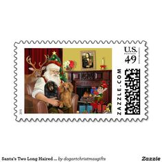 Santa's Two Long Haired Dachshunds Postage Stamps