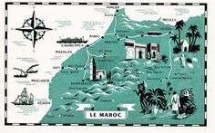 Morocco Map    Vintage map from a French-English guidebook to the delights of Morocco, probably from the 1940s, judging by the few automobiles pictured, although this map is more reminiscent of mid-century styling from the 1960s.    The undated booklet, published by Editions Afficaines Perceval--Rabat, has wonderful tinted borders and evocative photos.