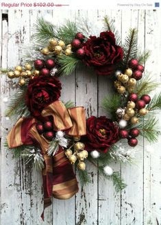 Holiday Door Wreath, Burgundy and Gold Wreath for Door, Victorian Christmas Wreath    This wreath is designed on a grapevine base with burgundy