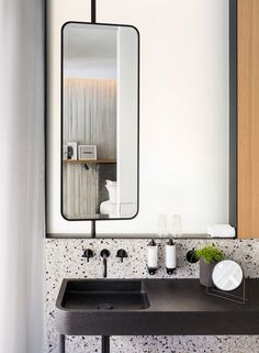 all bathrooms in the Hotel National des Arts et Métiers (Paris) are made with original Verona Terrazzo, flamed granite custom-made sink Terrazzo, Modern Bathroom, Small Bathroom, Master Bathroom, Bathroom Black, Rental Bathroom, Bathroom Canvas, Dyi Bathroom, Big Bathrooms