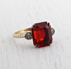 Vintage Rolled Gold & Sterling Ring - Ruby Red Glass Stone, Clear Rhinestone 1940s Size 8 Jewelry / Emerald Cut with Two Tones by Maejean Vintage on Etsy, $42.00