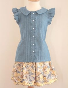 Chambray Tailored Pintuck Ruffle Blouse sizes 2T - 9/10 available. $38.00, via Etsy.