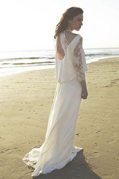 Robe de mariée bohème, dos nu et manches en dentelles - Robe: Sophie ...