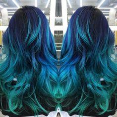 Cool hair color, aqua hair color, green hair colors, rainbow hair c Aqua Hair Color, Blue Green Hair, Green Hair Colors, Hair Dye Colors, Blonde Color, Cool Hair Color, Teal Blue, Teal Ombre Hair, Ombre Colour