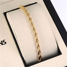 Hot Gold Filled Shiny Elegant Copper Rope Chain Bracelet Men Women Wristband