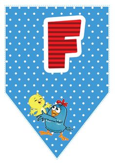Bandeirinhas da Galinha Pintadinha com o alfabeto, números e acentos para imprimir. Lottie Dottie, Ideas Para Fiestas, Happy B Day, 1st Birthday Girls, Baby Party, Banner, Kids Rugs, Symbols, Letters