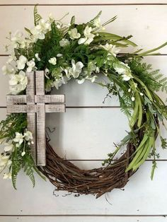 Your place to buy and sell all things handmade, Easter wreath cross wreath Spring wreath Summer wreath. Diy Spring Wreath, Summer Door Wreaths, Diy Wreath, Grapevine Wreath, Wreath Ideas, Wreath Burlap, Wreath Making, Cross Wreath, Greenery Wreath