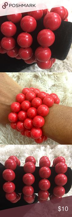 """4 Stretchy Chunky Big Red Bead Fashion Bracelets Great pieces to add a pop of color to your outfit  Stretchy, Eye Catching  Statement Pieces   Wear one at a time or all at once to give the look of one thicker bracelet  Beads measure almost a 1/2"""" wide   Don't forget to check out the rest of our closet and bundle your ❤️LIKES❤️ so we can send you a private offer  Check us out on Instagram - FashionCents203 for outfits of the day  Items ship next day  Inv SHELF Jewelry Bracelets"""
