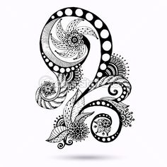 Henna Paisley Mehndi Doodles Abstract Floral Vector Illustration Design Element. Black And White Version. — Векторная картинка #36231569