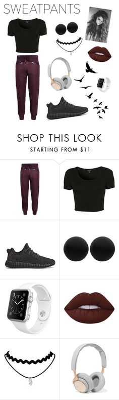 """Sweatpants"" by miss-lena ❤ liked on Polyvore featuring adidas, Topshop, adidas Originals, Thomas Sabo, Apple, Lime Crime, B&O Play, sweatpants and blackandred"