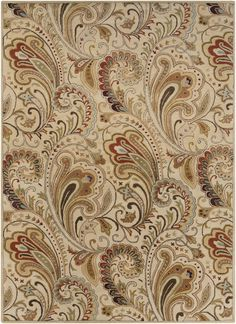 Surya Aurora Floral and Paisley Area Rug Neutral, Brown