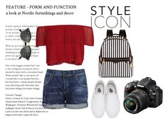 """Feature yourself with red"" by lizzie-tee ❤ liked on Polyvore featuring Citizens of Humanity, Keepsake the Label, Vans, Henri Bendel, Ray-Ban and Nikon"