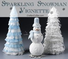 Beautiful, DIY Paper Trees and Sparkling Snowman. You can leave up this scene all winter long. CraftsnCoffee.com