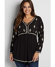 plus size peasant tunic top with ethnic embroidery