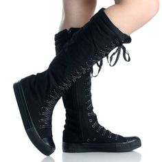 Black Canvas Lace Up Skate Punk Sneaker Flat Womens Knee High Boots