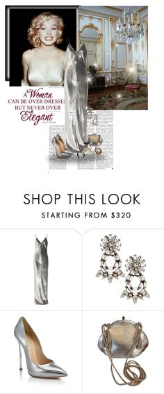 """""""Marilyn Monroe silver"""" by priscilla12 ❤ liked on Polyvore featuring Grace, T By Alexander Wang, DANNIJO, Casadei, Judith Leiber, vintage, Silver, gown and MarilynMonroe"""