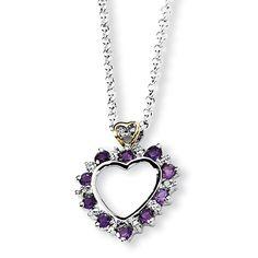 Sterling Silver & 14K Amethyst & Diamond Necklace