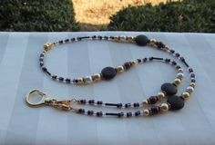 Gold Beaded Lanyard Necklace Gold Black by TheLanyardNecklace
