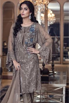 Buy Dark Grey Embroidered Chiffon Dress by Maria B. Buy Dark Grey Embroidered Chiffon Dress by Maria B. 2016 with world wide delivery. Pakistani Lawn Suits, Pakistani Formal Dresses, Pakistani Dress Design, Pakistani Outfits, Pakistani Couture, Designer Salwar Kameez, Shalwar Kameez, Churidar, Anarkali