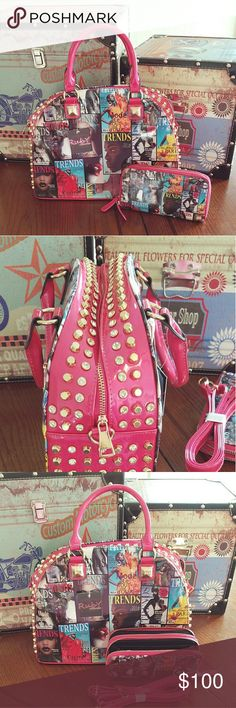 🆕Magazine Purse -  Ruby Collection Ruby Collection Magazine printed purse.  The purse has gold studs down the side. Brand new never used.  The shoulder strap is still wrapped in plastic. Bags