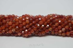 4MM, Tangerine Agate, Round Faceted, Natural Stone Beads, 1 Strand (Approx 90-95 Beads)