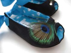 Peacock feathers baby girl shoes black Peacock by allthingsforbaby, $32.00