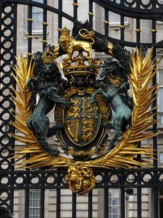 British Coat of Arms, gates of Buckingham Palace, London