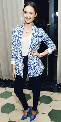 Jessica Alba Wearing A Blue Double Breasted Leopard Print Anthropologie Blazer Over A White